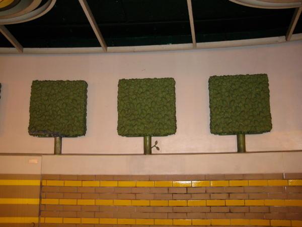 Tree decoration in Königsworther Platz underground station in Hannover