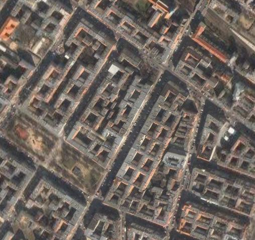 Blocks with four rows of houses in Berlin (Image from Google Earth)