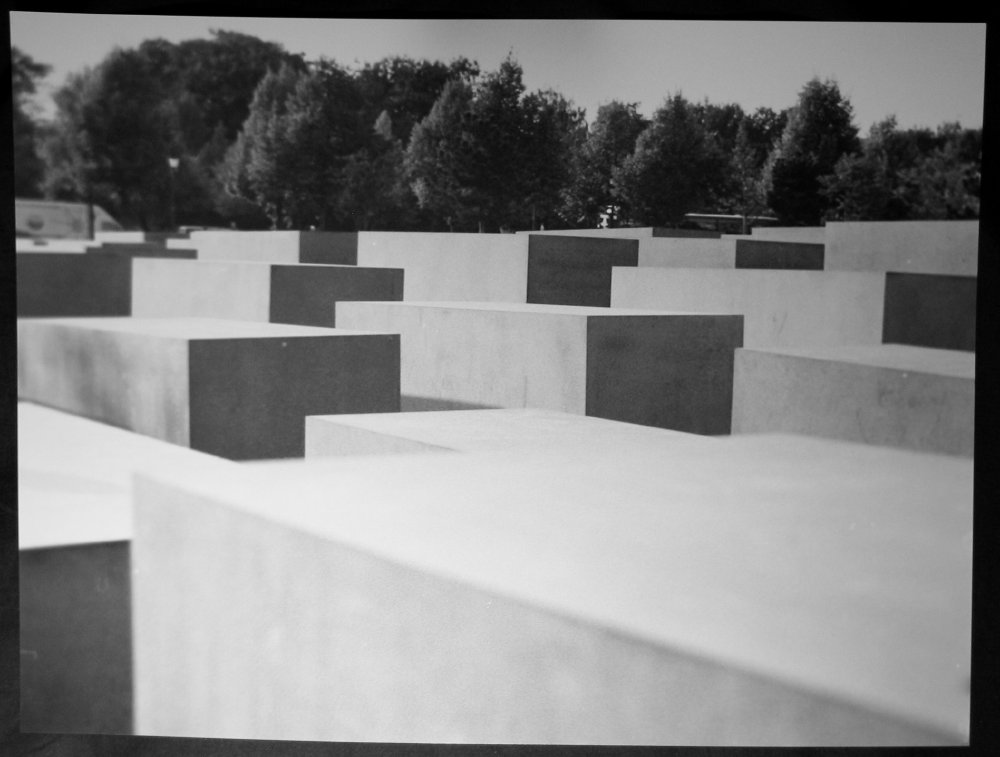 Black and white photo of the Holocaust Mahnmal in Berlin