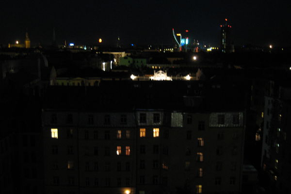 Lights of Rīga seen from the balcony of the 11th floor bar at Hotel Albert