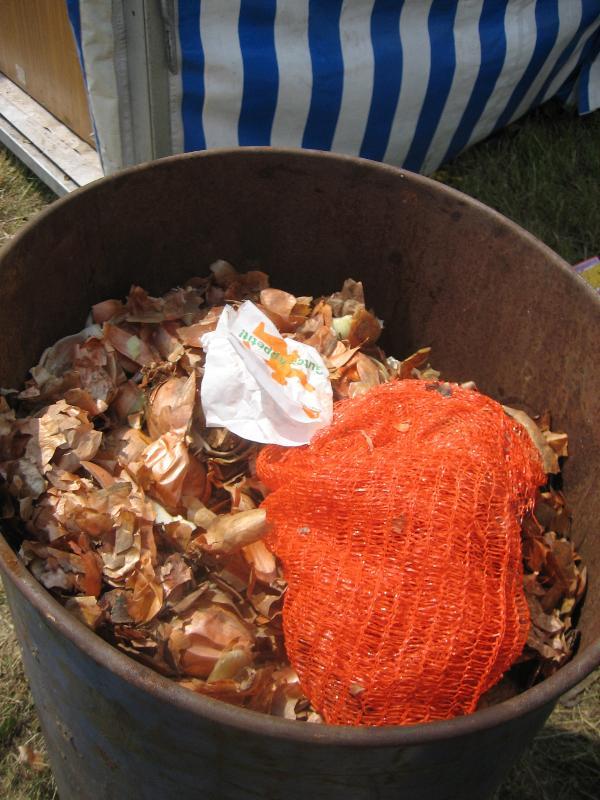 Onion peels in an oil barrel
