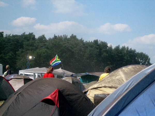 South African flag on the camp ground
