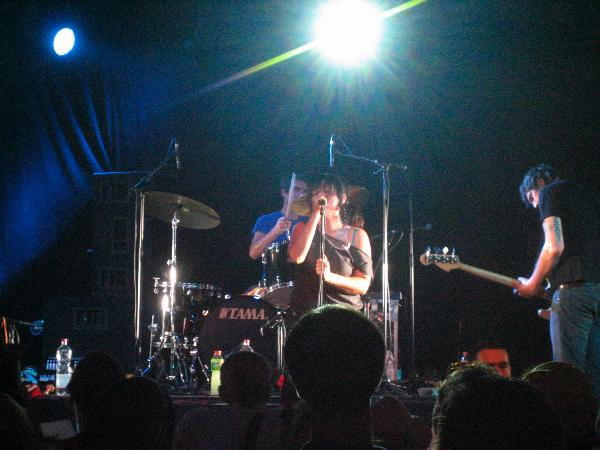 Singer, Drummer and Bassist of Pretty Girls Make Graves playing at Hurricane 2006