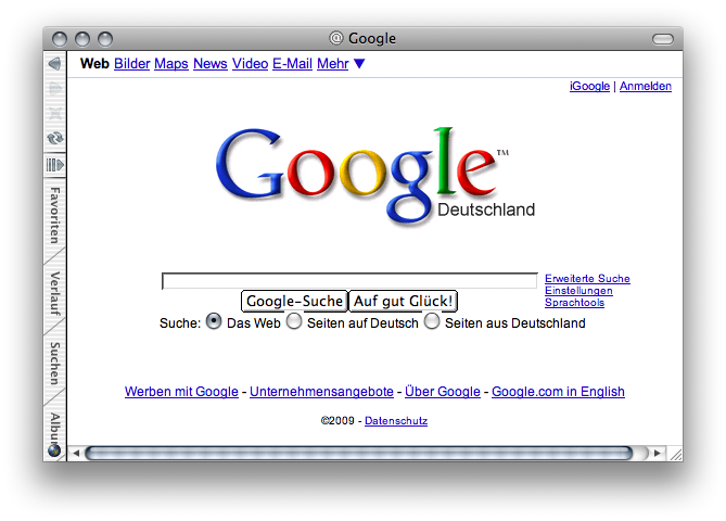 Toolbar on the side in Internet Explorer 5 for Mac