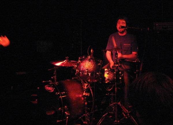 Japandroids' David at the drums on stage at Café Glocksee in Hannover
