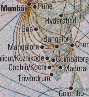 KLM Flight routes around India