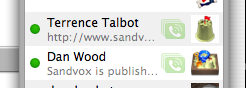 Dan and Terrence both using their iChat audio chat at the same time... seen in my iChat contact list