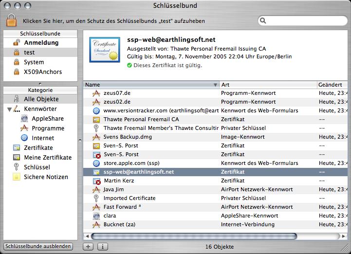 Main window of Keychain  application