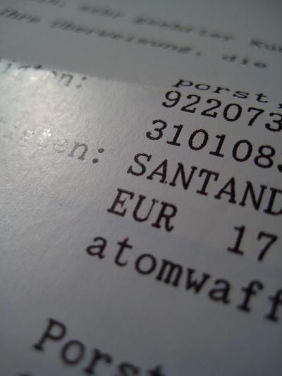 Detail of a bank receipt