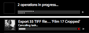 Two Lightroom progress indicators