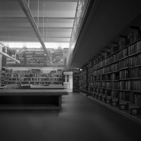 Black and white image of the library