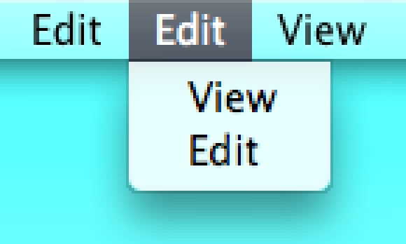 Enlarged Edit and View menu items in the menu bar, in menus and highlighted