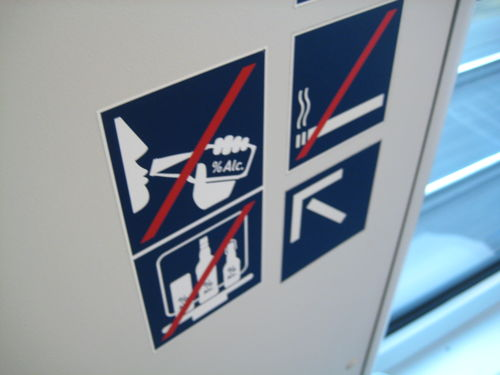 No alcohol sign in Metronom train