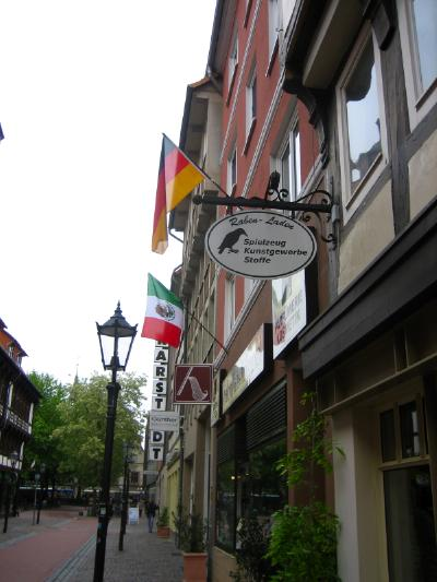 Mexican and German flag on a house in Göttingen