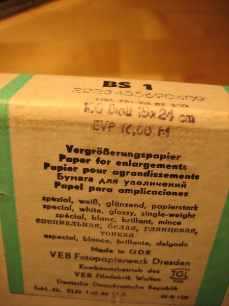 Label of ORWO photo paper