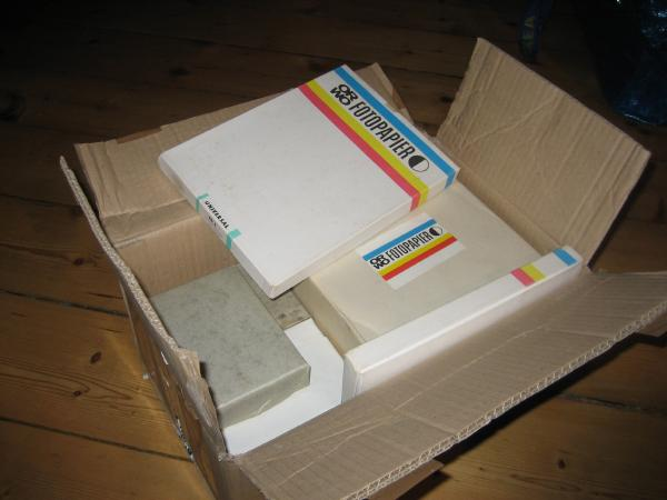 box full of photo paper