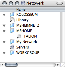 Network 'section' displayed in the Finder with all folders opened