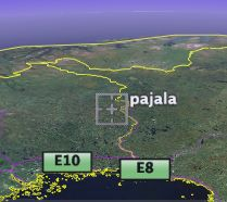 Map showing Pajala, with thanks to Google Earth...