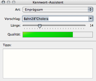Password assistant Palette