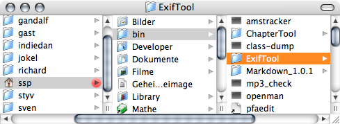Finder window showing the folder 'ExifTool' inside the folder 'bin' inside a home folder