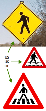 Pedestrian crossing street signs from the US, UK and Germany