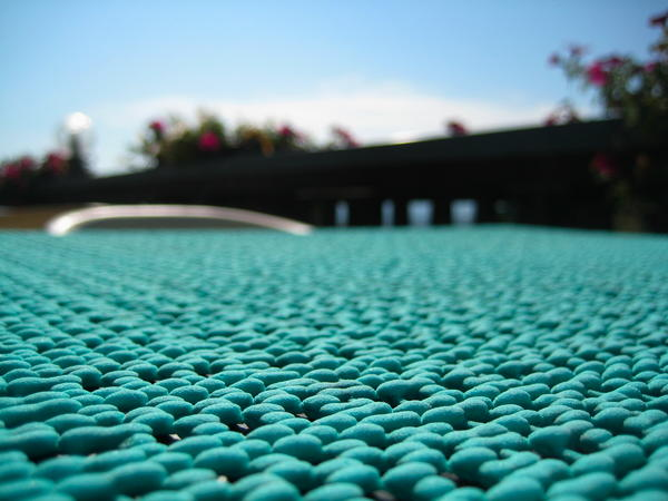 plastic table cloth, turquoise