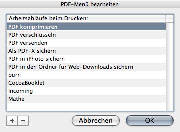 PDF Workflow Actions setup window