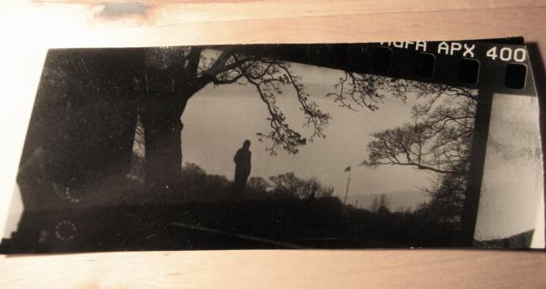 print of some negatives with frame on a long and narrow strip of photo paper.