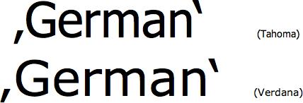 German single quotes in Tahoma and Verdana