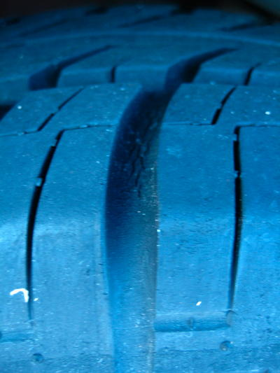 tyre with slight cracks in the rubber