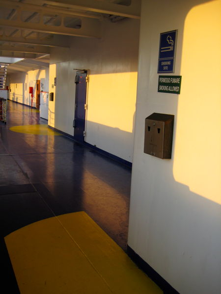 Smoking areas marked on the ground on the Baltic Amber ferry