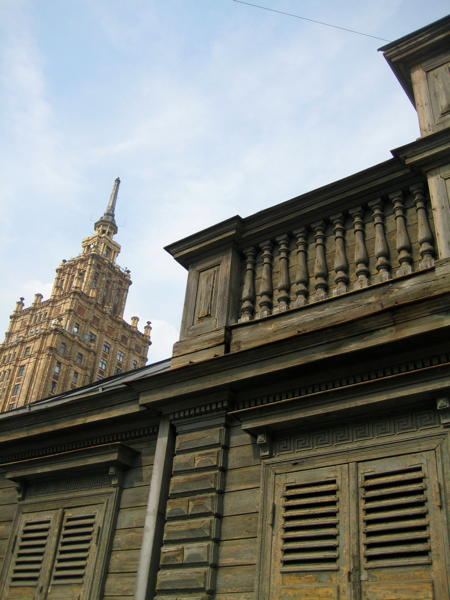 Wooden house and upper floor of Academy of Sciences in Rīga