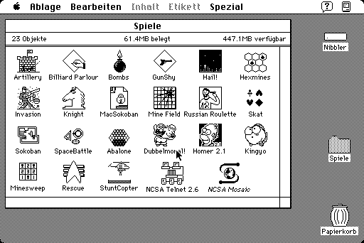 Games folder with icons on the Mac SE