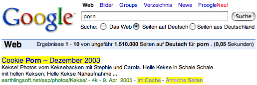 Screenshot of Google search results for German pages containing the word 'porn'