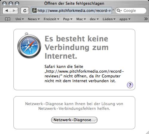 Safari error message for a network problem