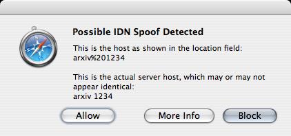 Safari IDN Spoof warning sheet