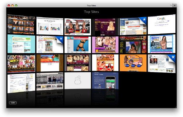 Safari 4b1's Top Sites feature