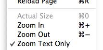 Zoom menu items in Safari 4b1's View menu