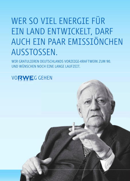 Ad by RWE honouring Helmut Schmidt and his emissions