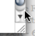 Mouse cursor positioned outside the rectangular scroll arrow area but still inside the area that was highlighted before.