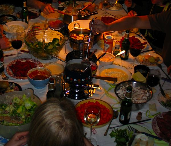 table with loads of food