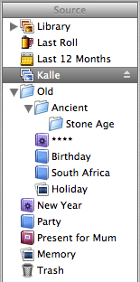 iPhoto's source list