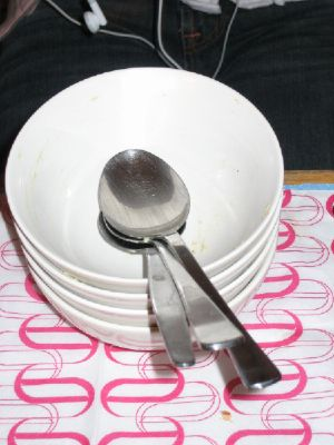 Empty bowls from the artichoke soup
