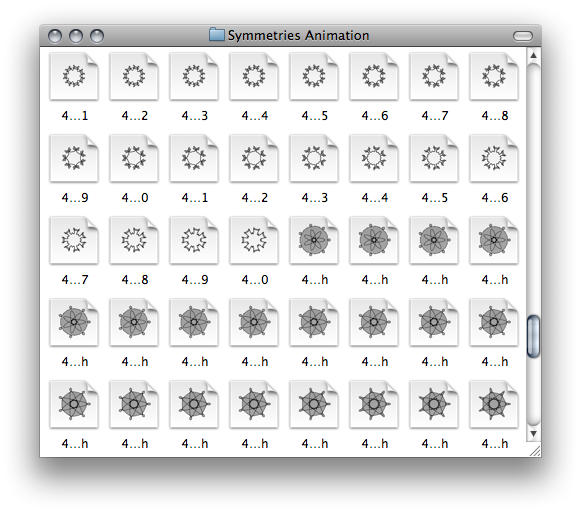 Finder window with thumbnail icons for the saved symmetries
