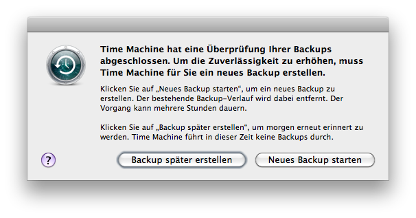 Time Machine dialogue saying that to improve 'reliability' the software wants to delete my existing backup