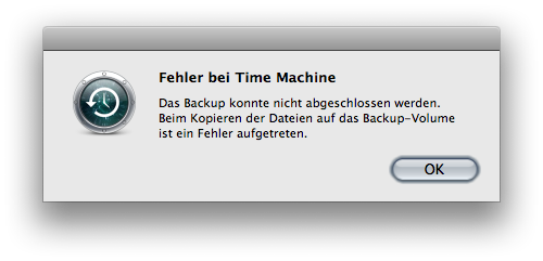 Time Machine error message saying that the backup couldn't be completed because an error occurred during copying