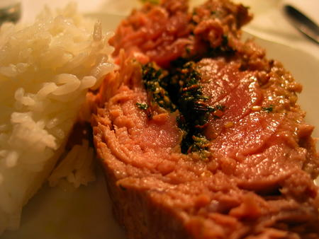 Tuna with Asian Pesto and rice