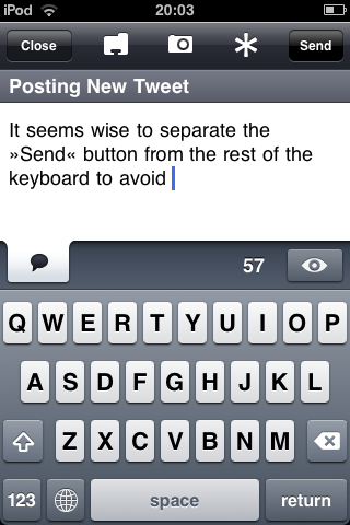 Twitterific message entry screen with the Send button separate from the keyboard.