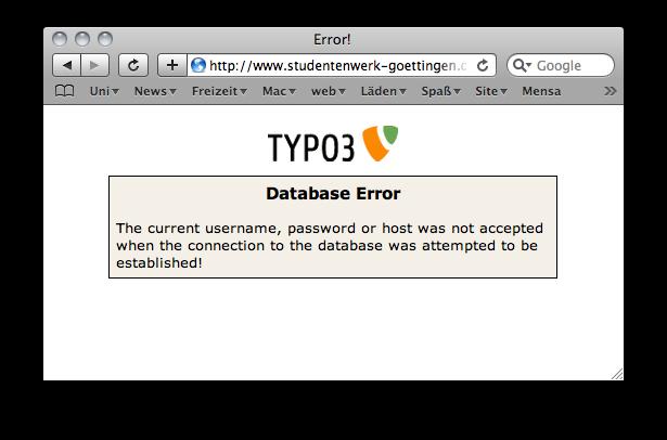 Typo 3 error page
