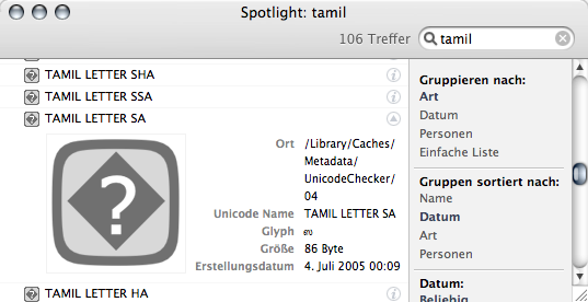 Spotlight search for 'Tamil'